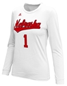 Adidas Nebraska Volleyball Replica Home Jersey Top Nebraska Cornhuskers, Nebraska  Ladies, Huskers  Ladies, Nebraska  Long Sleeve, Huskers  Long Sleeve, Nebraska  Ladies T-Shirts, Huskers  Ladies T-Shirts, Nebraska Volleyball, Huskers Volleyball, Nebraska Adidas, Huskers Adidas, Nebraska Adidas Nebraska Volleyball Replica LS - White, Huskers Adidas Nebraska Volleyball Replica LS - White