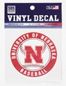 Baseball Bullseye Decal Nebraska Cornhuskers, Nebraska Stickers Decals & Magnets, Huskers Stickers Decals & Magnets, Nebraska  Baseball, Huskers  Baseball, Nebraska Baseball Circle 3 inch Decal, Huskers Baseball Circle 3 inch Decal