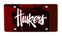 Huskers Laser Etched License Plate - Red Nebraska Cornhuskers, Nebraska Vehicle, Huskers Vehicle, Nebraska Huskers Laser Etched License Plate - Red, Huskers Huskers Laser Etched License Plate - Red